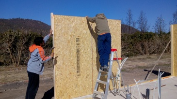 Putting up the walls / Instalando los muros